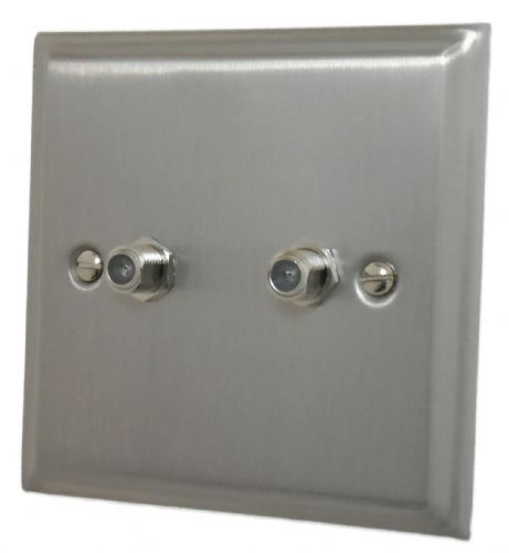 G&H DSN237 Deco Plate Satin Nickel 2 Gang Satellite Socket Point